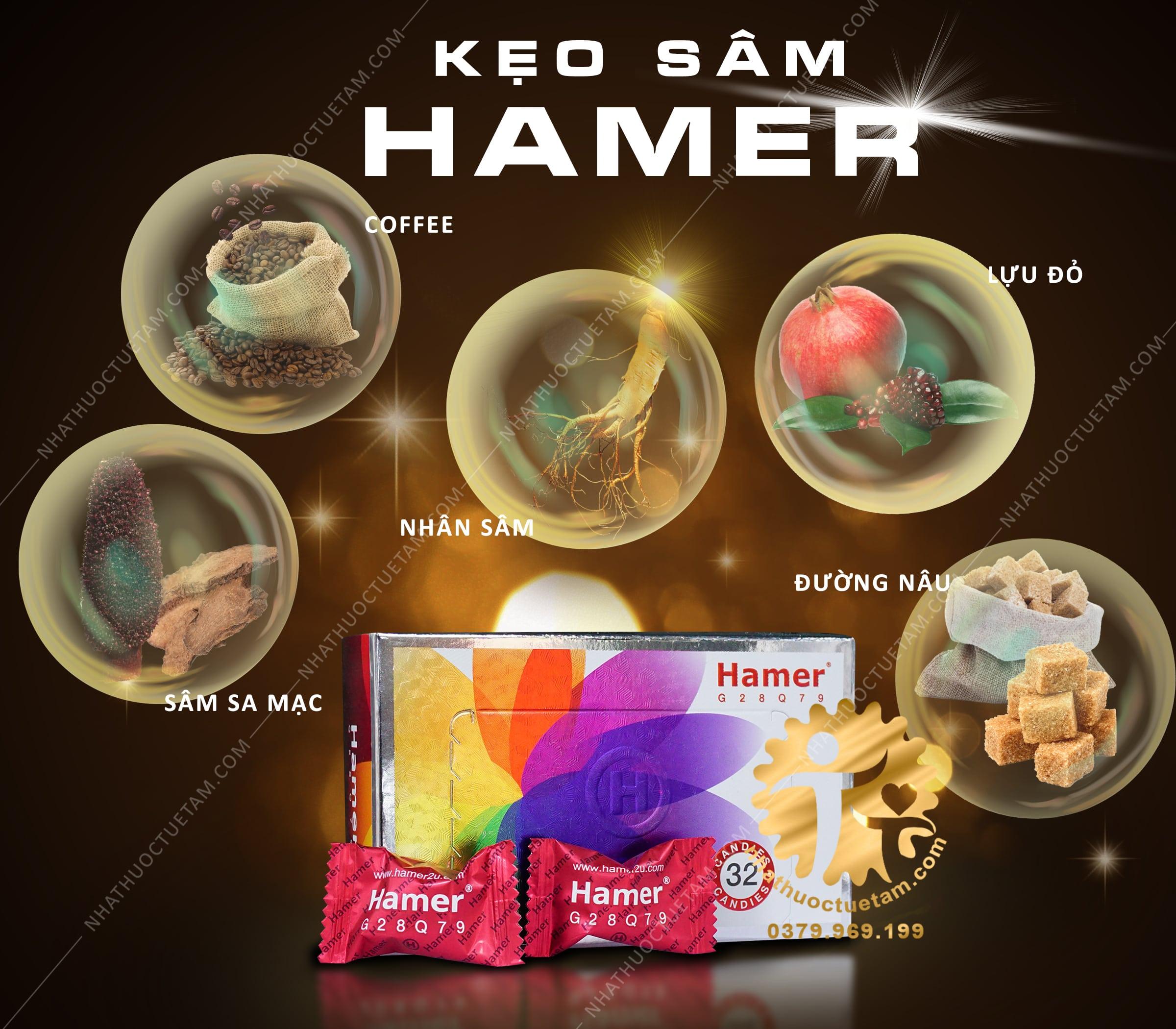 kẹo sâm hamer có thành phần gì